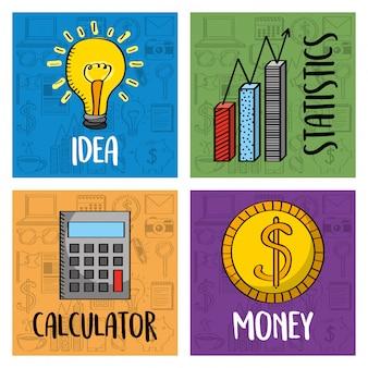 Coleção negócios ideia calculadora dinheiro e estatísticas