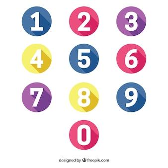 Coleção número colorida com design plano
