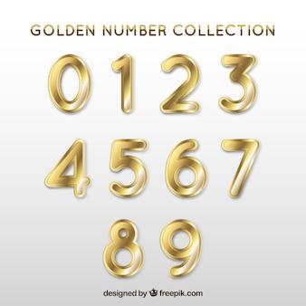 Coleção número com estilo de ouro