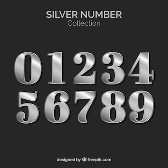 Coleção número com estilo de prata
