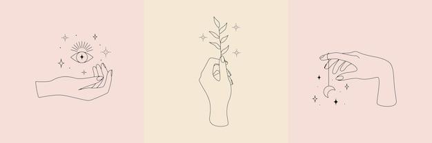 Coleção ocultista mística com símbolo mágico de mãos, planta, lua, olhos e estrelas.