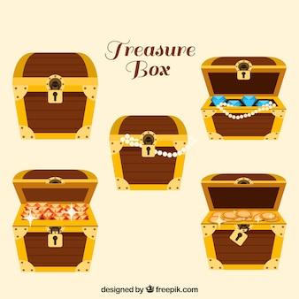 Coleção openend e fechado de caixas de tesouro