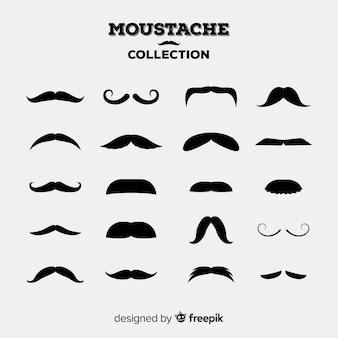 Coleção original de bigode com design plano