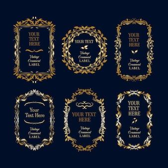 Coleção ornamental molduras douradas