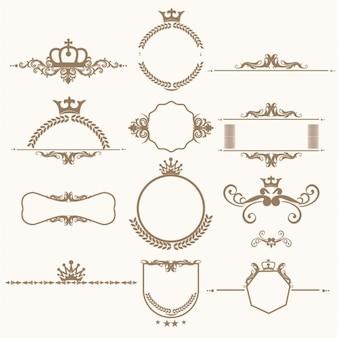 Coleção ornamentos decorativos