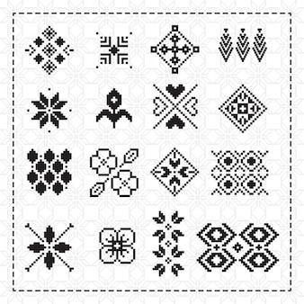 Coleção ornamentos pixelizada