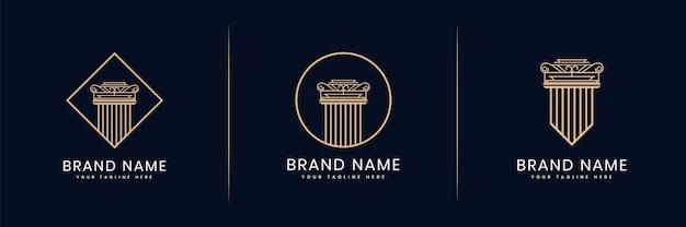 Coleção ou conjunto de pilares do logotipo da justiça para advogado, escritório de advocacia, advogados, arquiteto de construção