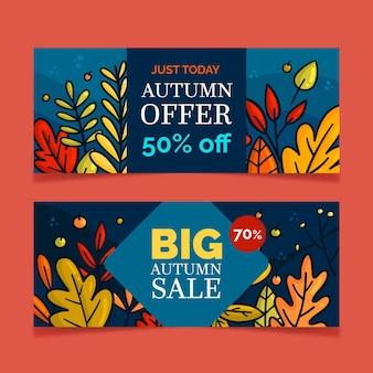 Coleção outono banners de venda