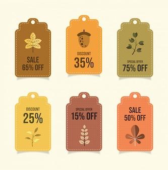 Coleção outono preço banner tag distintivo.
