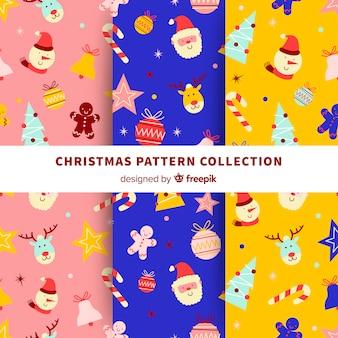 Coleção padrão colorido com elementos de natal
