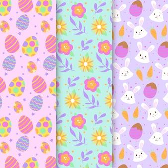 Coleção padrão colorido para o dia de páscoa