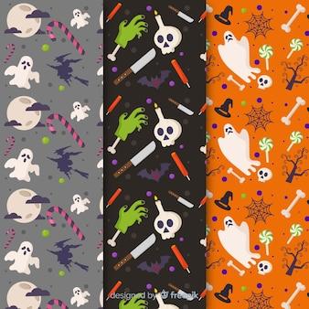 Coleção padrão de halloween plana com fantasmas