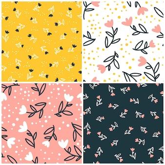 Coleção padrão sem emenda floral com flores pequenas bonitos. estilo simples doodle desenhado à mão.