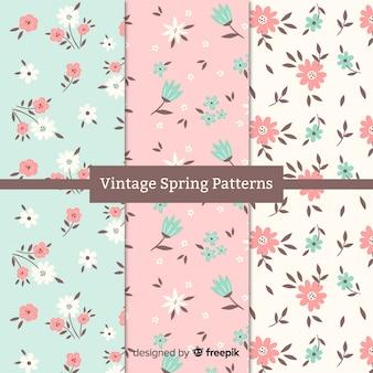 Coleção padrão vintage primavera