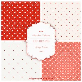 Coleção padrões corações vermelhos