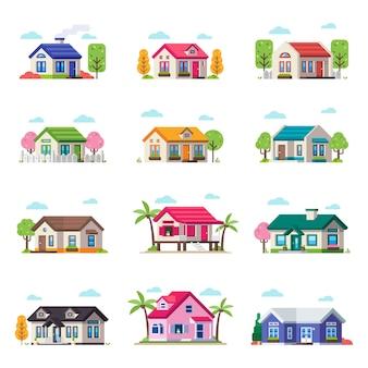 Coleção pequena da casa de privat. vector house building set em tipo diferente