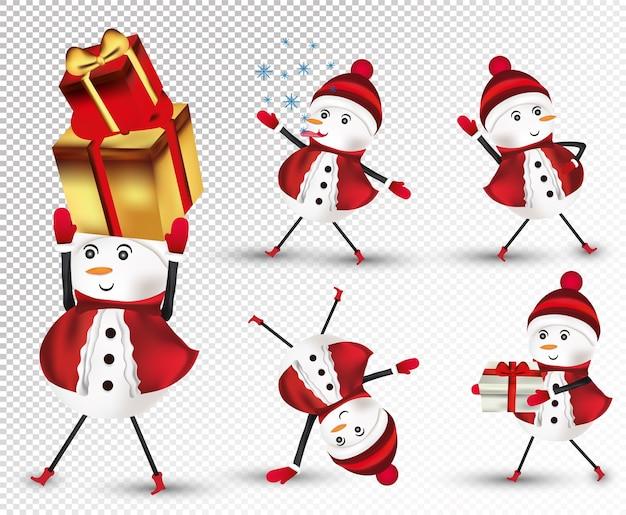 Coleção pequeno boneco de neve de natal com chapéu, lenço e luvas.