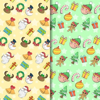 Coleção perfeita e divertida e fofa do padrão de natal desenhado à mão