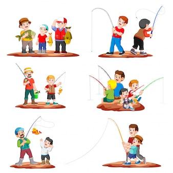 Coleção pescador pescando com vara de pescar e crianças pegando peixe