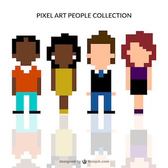 Coleção pessoas pixelizada