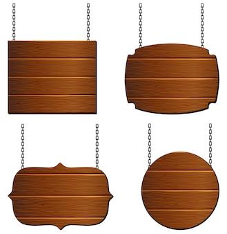 Coleção placa de madeira
