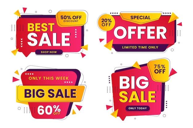 Coleção plana abstrata de banners de venda
