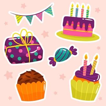 Coleção plana colorida de aniversário