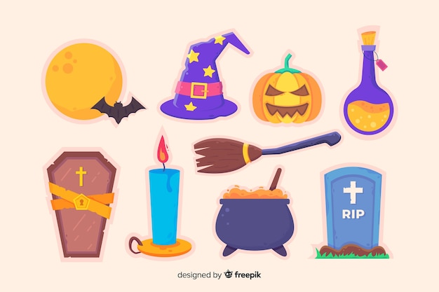 Coleção plana de acessórios do dia das bruxas