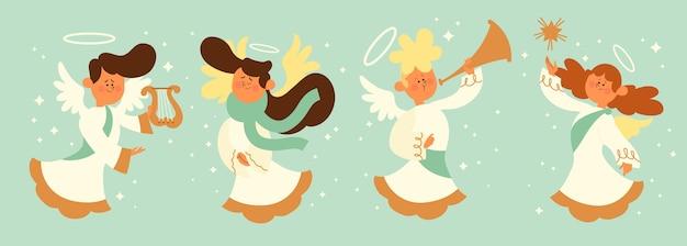 Coleção plana de anjo de natal
