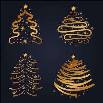 Coleção plana de árvore de natal dourada