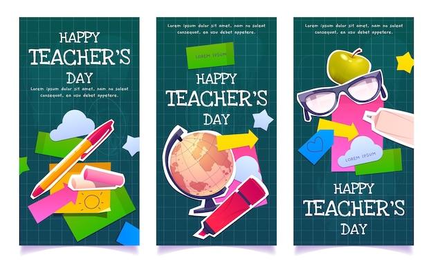 Coleção plana de banners verticais do dia dos professores