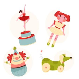 Coleção plana de brinquedos de natal