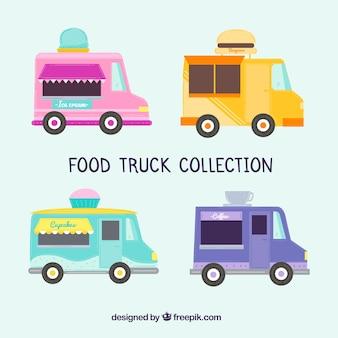 Coleção plana de caminhões de alimentos com estilo moderno