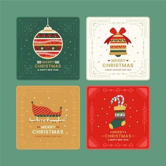 Coleção plana de cartões de natal ornamentais