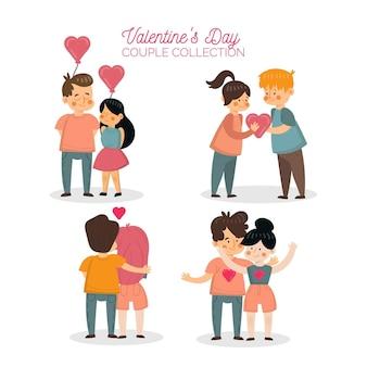 Coleção plana de casais do dia dos namorados