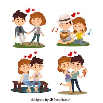 Coleção plana de casal do dia dos namorados