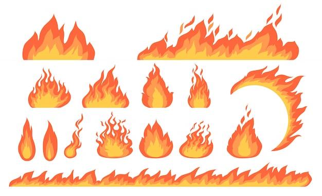 Coleção plana de chamas de fogo dos desenhos animados