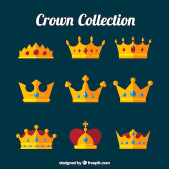 Coleção plana de coroas com pedras preciosas