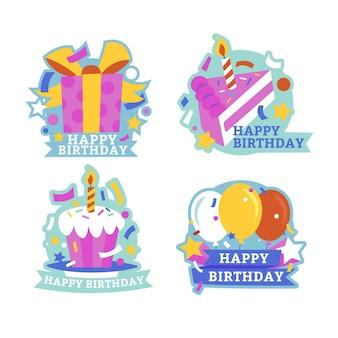 Coleção plana de crachás de aniversário