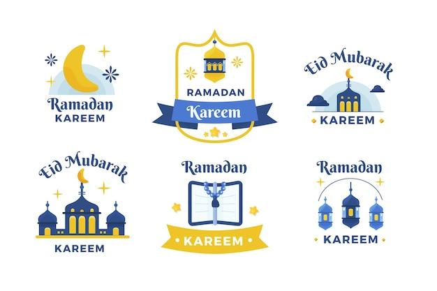 Coleção plana de crachás do ramadã