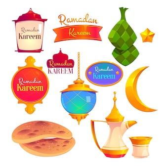 Coleção plana de crachás ramadan