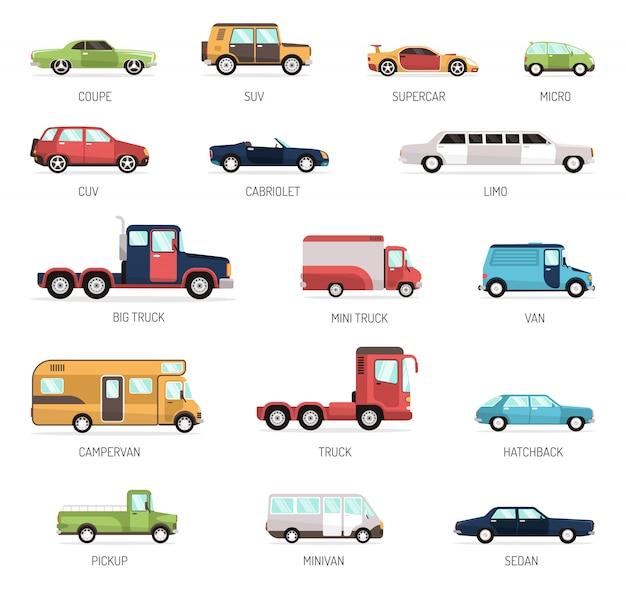 Coleção plana de diferentes modelos de carros