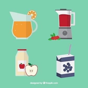 Coleção plana de diferentes sucos de frutas