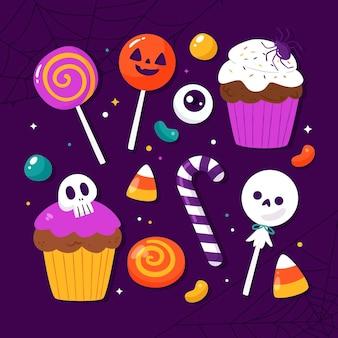 Coleção plana de doces de halloween