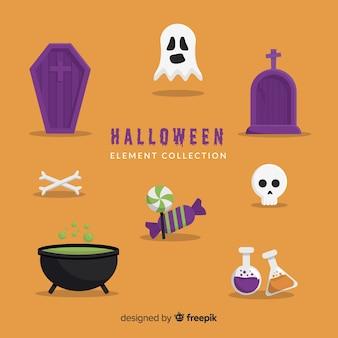 Coleção plana de elemento de halloween fundo laranja