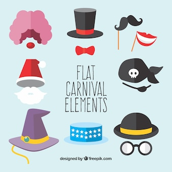 Coleção plana de elementos de carnaval
