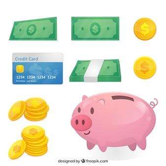 Coleção plana de elementos de dinheiro