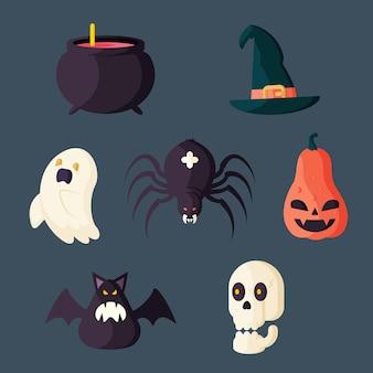 Coleção plana de elementos de halloween