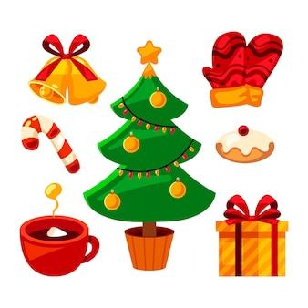 Coleção plana de elementos de natal
