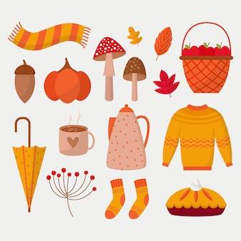 Coleção plana de elementos de outono